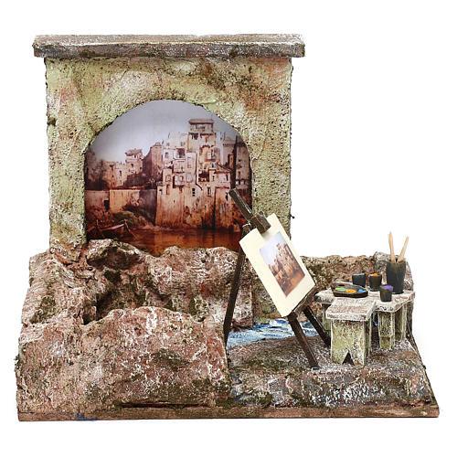 Street artist setting for 12 cm Nativity scene, 20x25x15 cm 1