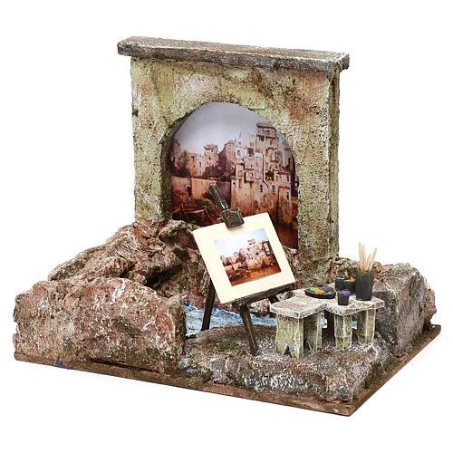 Street artist setting for 12 cm Nativity scene, 20x25x15 cm 2