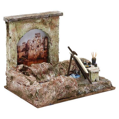Street artist setting for 12 cm Nativity scene, 20x25x15 cm 3
