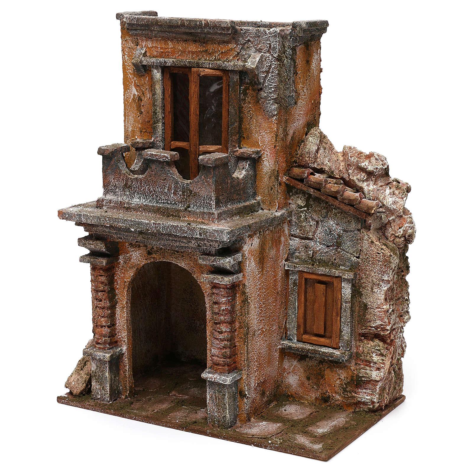 House with balcony for 12 cm Nativity scene, 35x30x20 cm 4