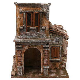 House with balcony for 12 cm Nativity scene, 35x30x20 cm s1