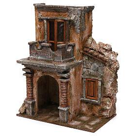 House with balcony for 12 cm Nativity scene, 35x30x20 cm s2