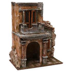 House with balcony for 12 cm Nativity scene, 35x30x20 cm s3