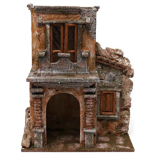 House with balcony for 12 cm Nativity scene, 35x30x20 cm 1