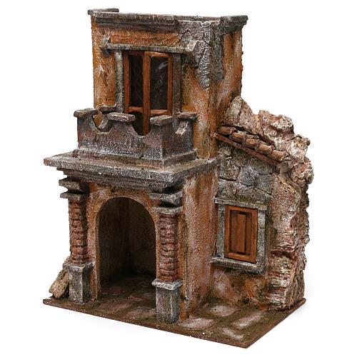 House with balcony for 12 cm Nativity scene, 35x30x20 cm 2