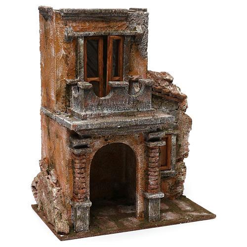 House with balcony for 12 cm Nativity scene, 35x30x20 cm 3