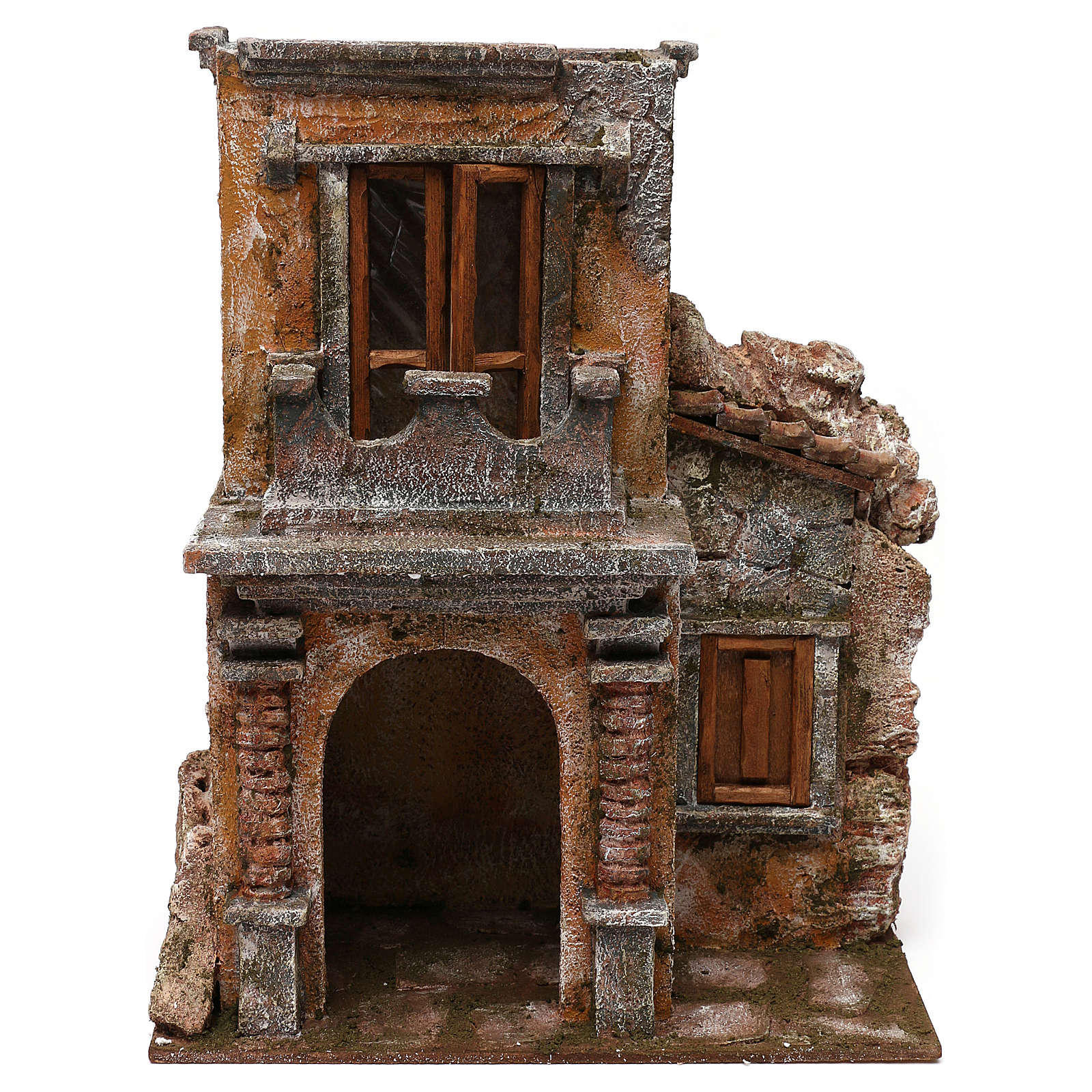 Casa con terrazza resina presepe 12 cm 35x30x20 cm 4