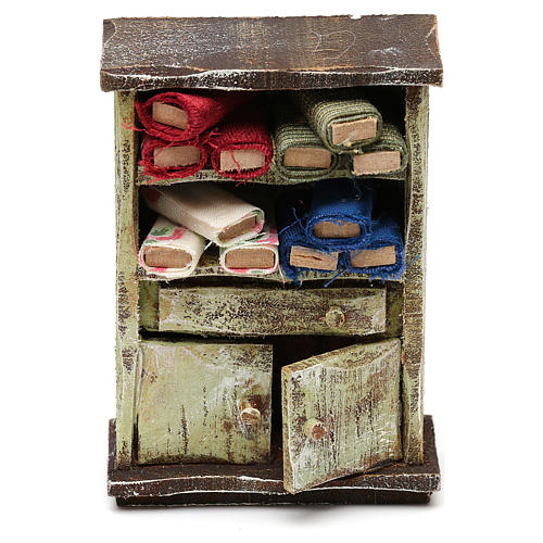 Cupboard with fabric rolls for 10 cm Nativity scene, 10x5x5 cm 1