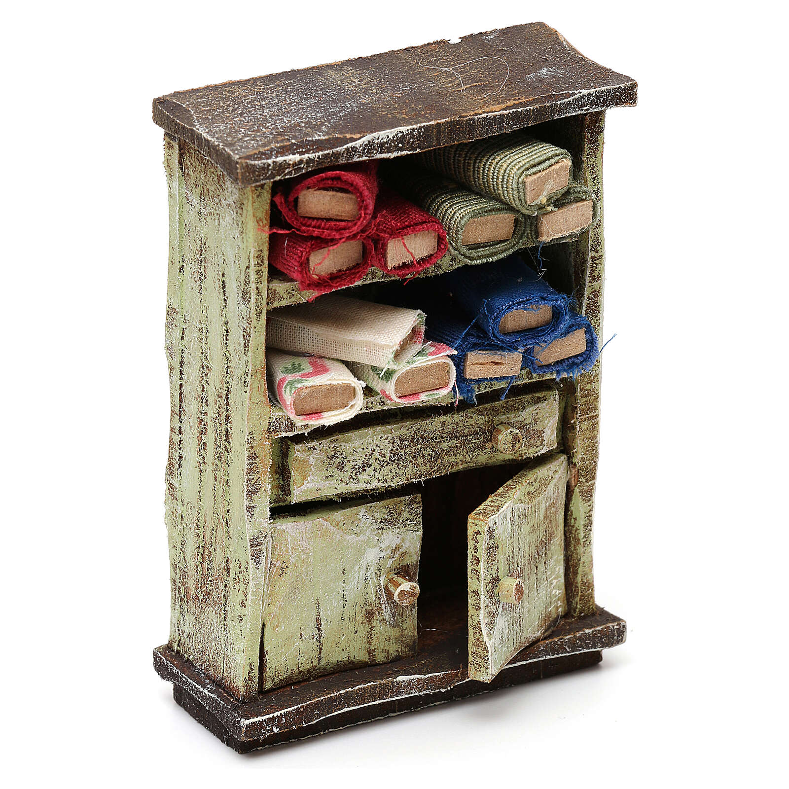 Tailor shop cabinet with fabric, for 10 cm nativity 10x5x5 cm 4