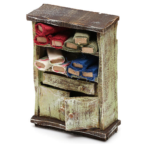 Tailor shop cabinet with fabric, for 10 cm nativity 10x5x5 cm 2