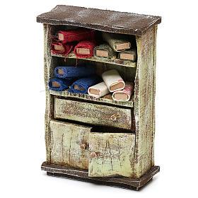 Cupboard with fabric rolls for 12 cm Nativity scene, 10x10x5 cm s2