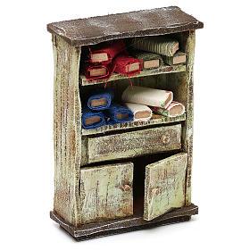 Cupboard with fabric rolls for 12 cm Nativity scene, 10x10x5 cm s3