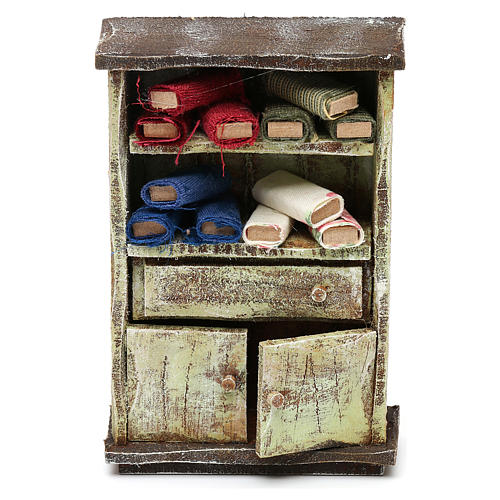 Cupboard with fabric rolls for 12 cm Nativity scene, 10x10x5 cm 1