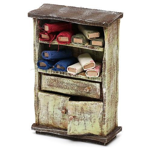 Cupboard with fabric rolls for 12 cm Nativity scene, 10x10x5 cm 2