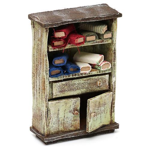 Cupboard with fabric rolls for 12 cm Nativity scene, 10x10x5 cm 3
