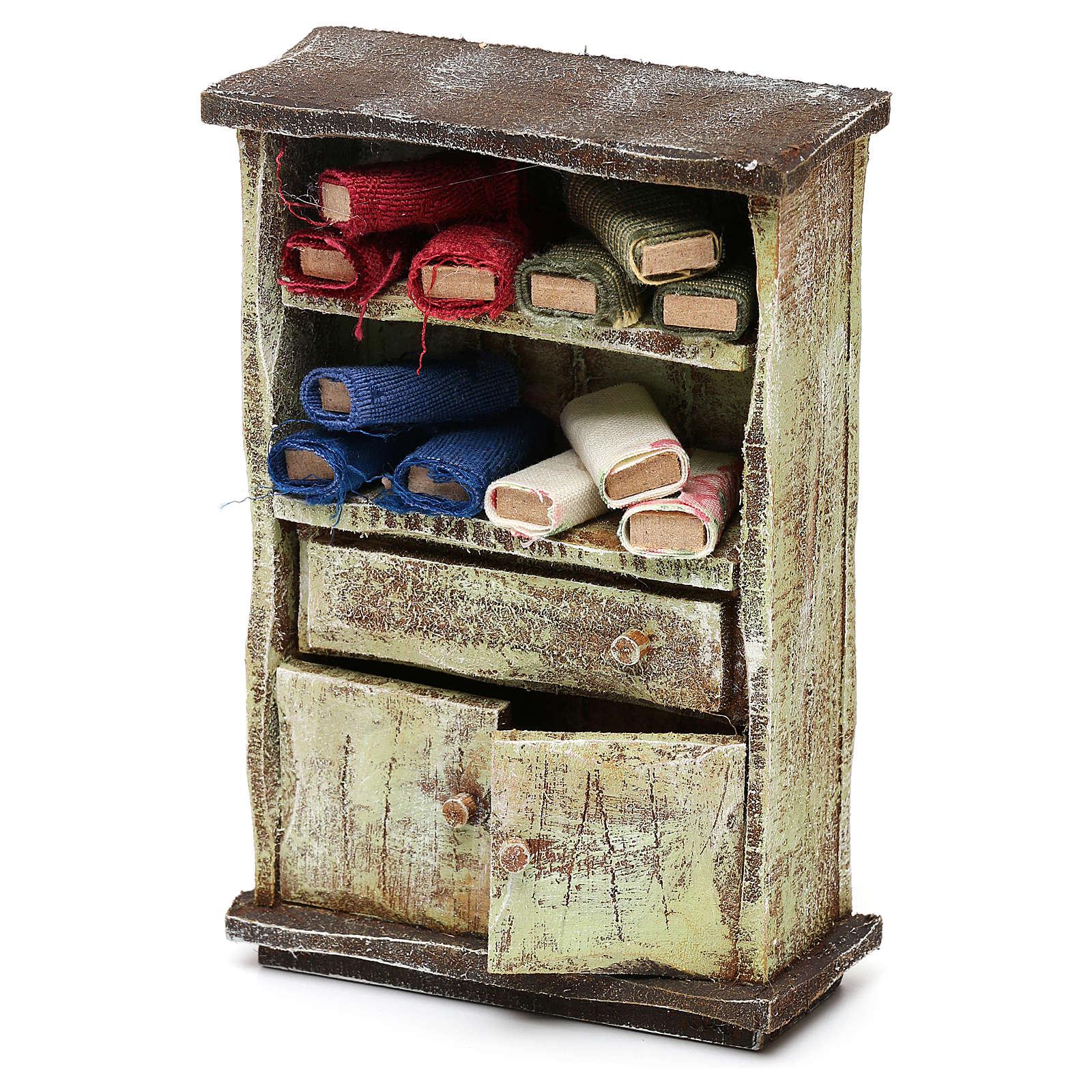 Mueble con rollos tela sastre belén 12 cm 10x10x5 cm 4