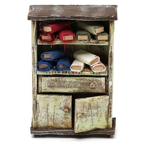 Mueble con rollos tela sastre belén 12 cm 10x10x5 cm 1