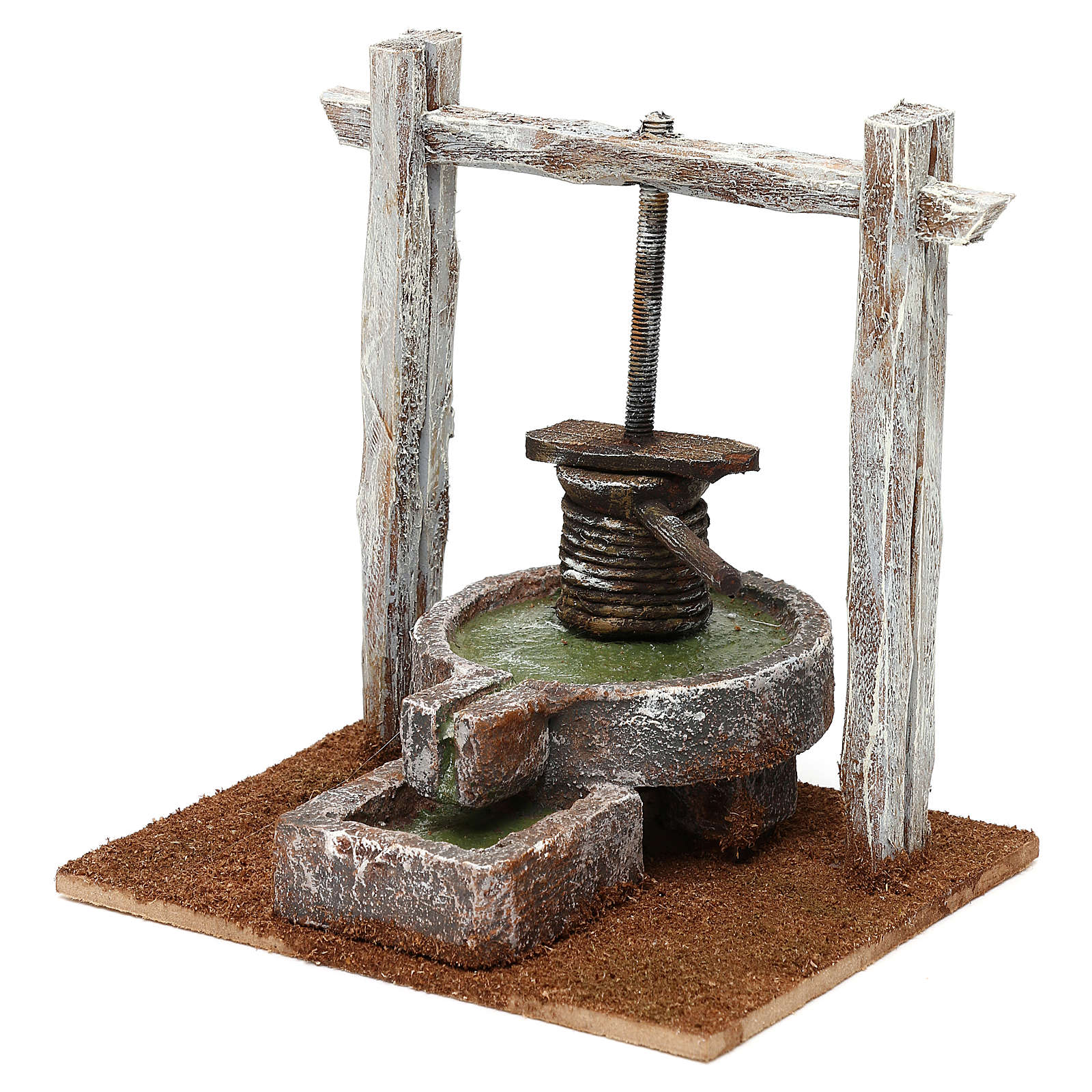 Winepress in wood and resin for 10 cm Nativity scene, 15x15x10 cm 4