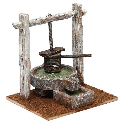 Winepress in wood and resin for 10 cm Nativity scene, 15x15x10 cm 3