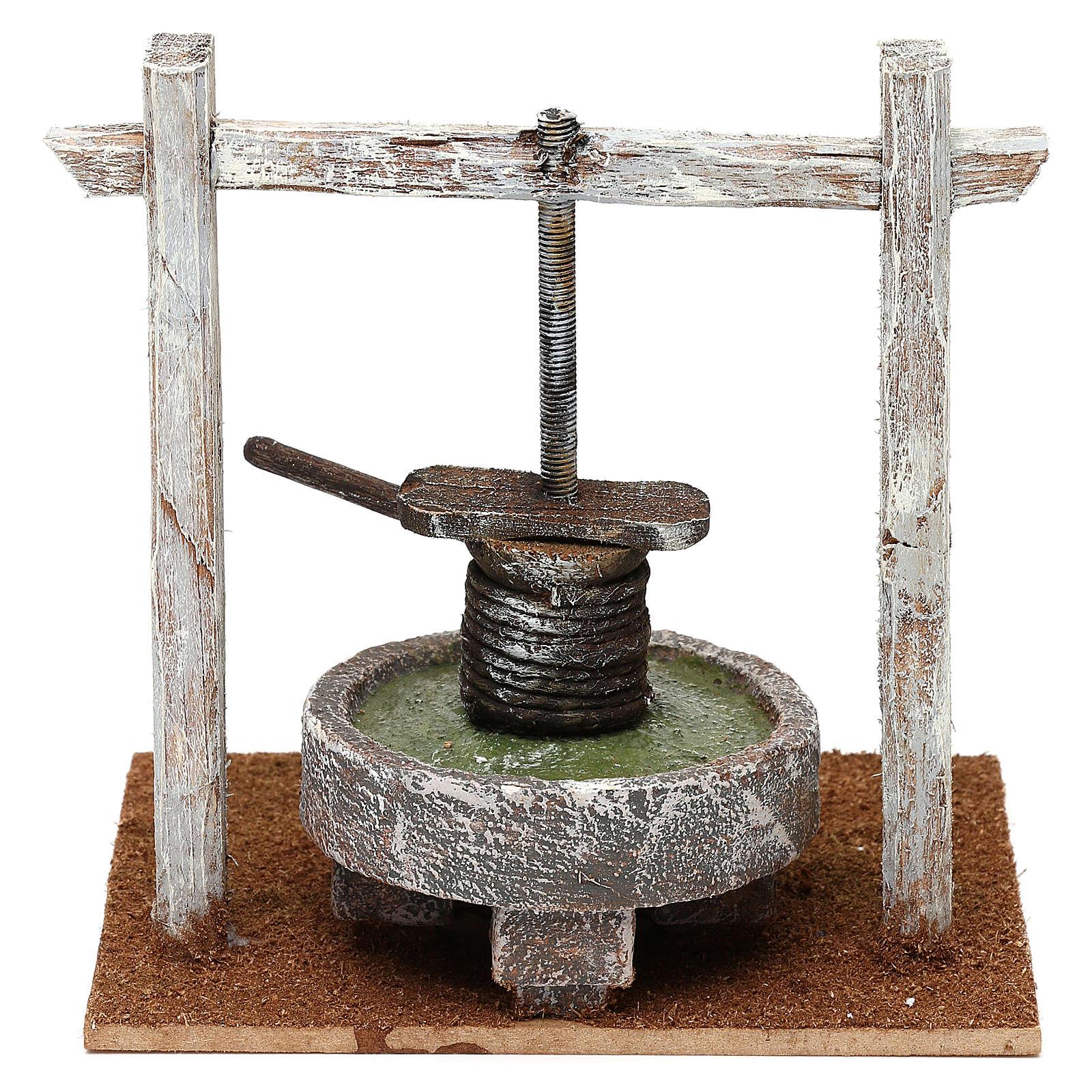 Torchio struttura legno base resina presepe 10 cm 15x15x10 cm 4