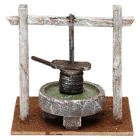 Torchio struttura legno base resina presepe 10 cm 15x15x10 cm s4