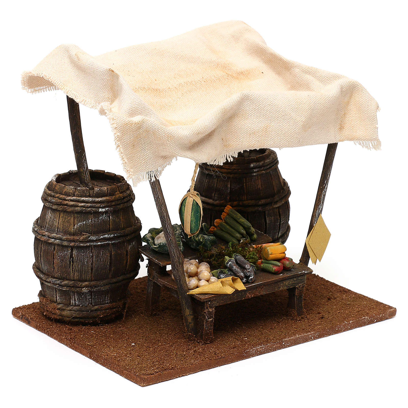 Greengrocer stall with barrels for 12 cm Nativity scene, 20x20x15 cm 4