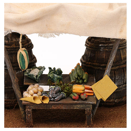 Greengrocer stall with barrels for 12 cm Nativity scene, 20x20x15 cm 2