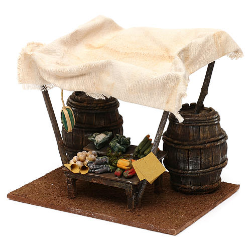 Greengrocer stall with barrels for 12 cm Nativity scene, 20x20x15 cm 3