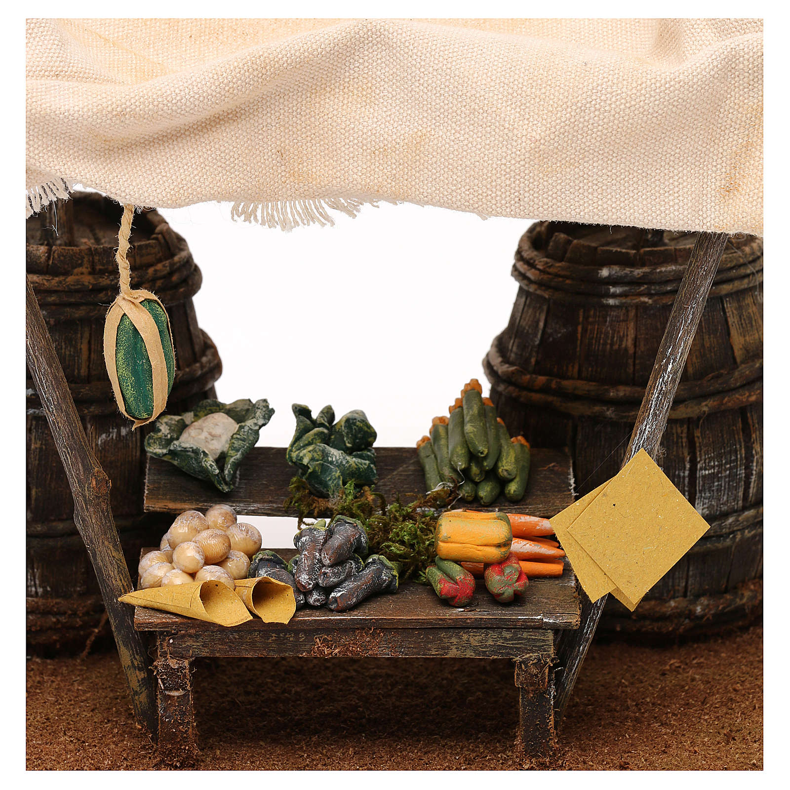 Banchetto fruttivendolo botti e tenda presepi 12 cm 20x20x15 cm 4