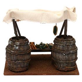 Banchetto fruttivendolo botti e tenda presepi 12 cm 20x20x15 cm s5