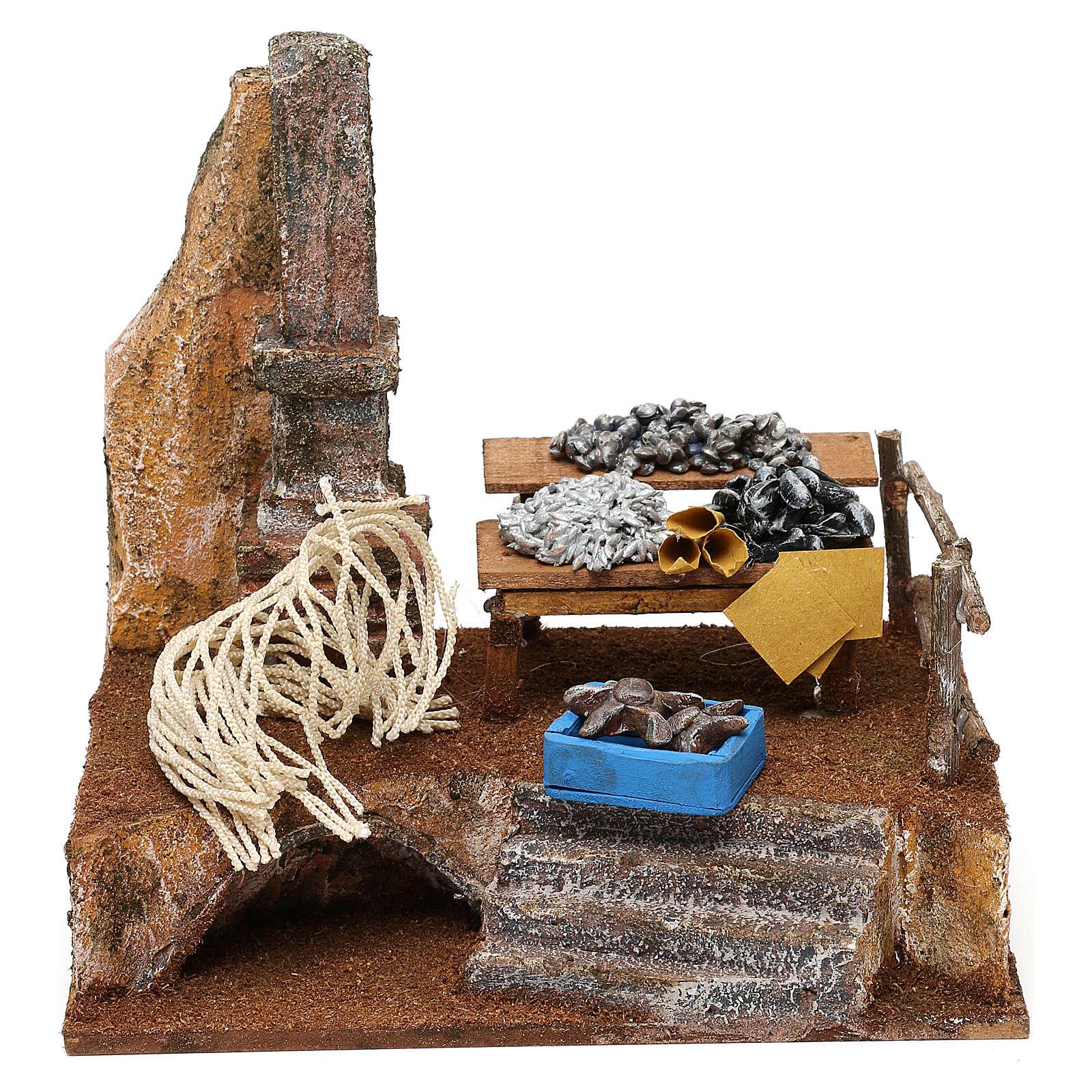 Fishmonger setting for 10 cm Nativity scene, 20x20x15 cm 4