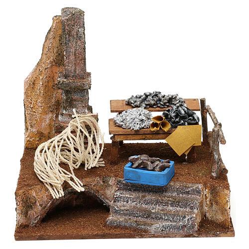 Fishmonger setting for 10 cm Nativity scene, 20x20x15 cm 1