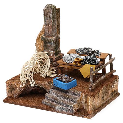 Fishmonger setting for 10 cm Nativity scene, 20x20x15 cm 2