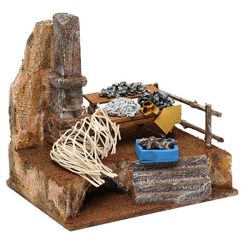 Fishmonger setting for 10 cm Nativity scene, 20x20x15 cm 3