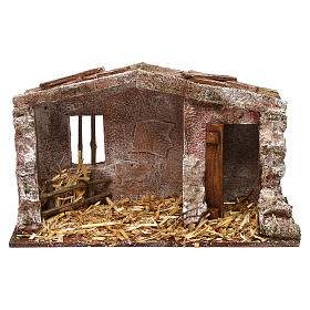 Stone shack in with straw for 10 cm Nativity scene, 20x30x15 cm s1