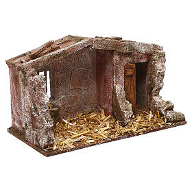 Stone shack in with straw for 10 cm Nativity scene, 20x30x15 cm s3
