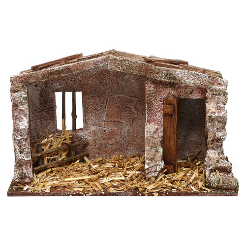 Stone shack in with straw for 10 cm Nativity scene, 20x30x15 cm 1