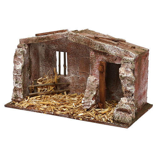 Stone shack in with straw for 10 cm Nativity scene, 20x30x15 cm 2
