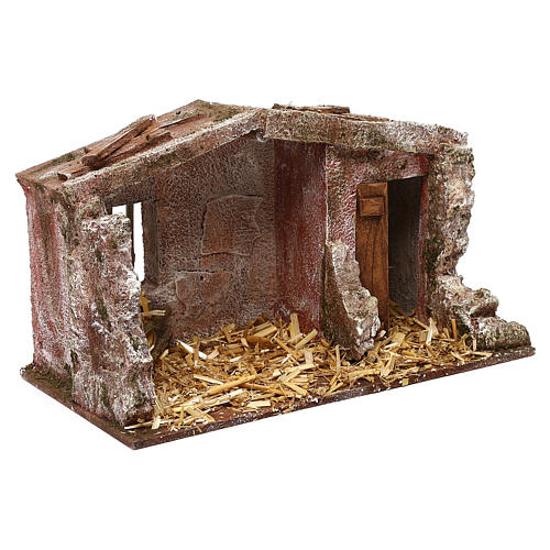 Stone shack in with straw for 10 cm Nativity scene, 20x30x15 cm 3