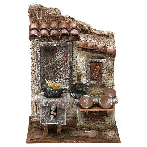Stone shack in with straw for 10 cm Nativity scene, 20x30x15 cm 5
