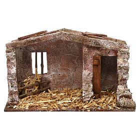Cabaña mampostería con pajizo 20x30x15 cm para belén de 10 cm s1