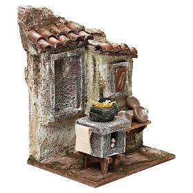 Cabaña mampostería con pajizo 20x30x15 cm para belén de 10 cm s7