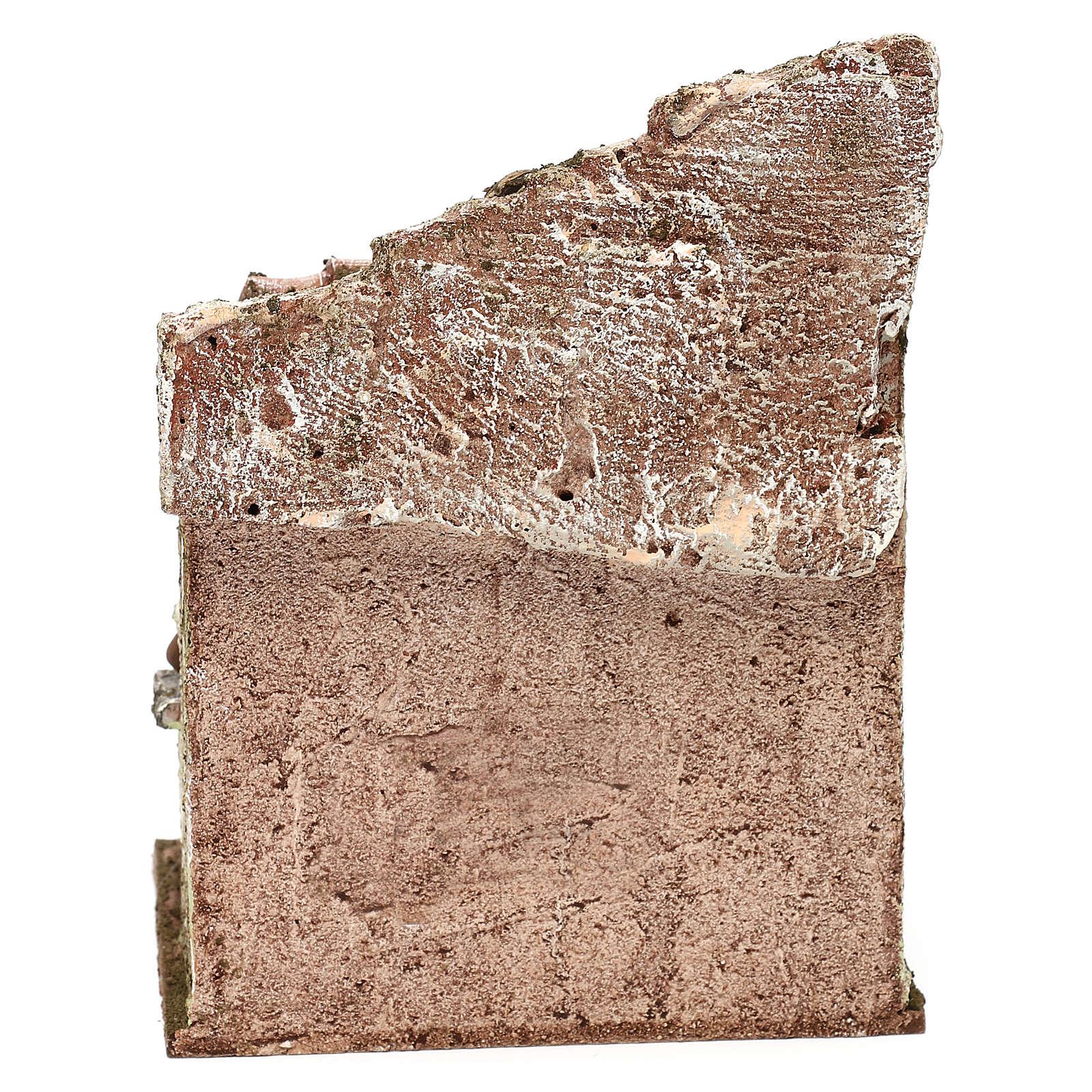 Capanna muratura con paglia 20x30x15 cm per presepe di 10 cm 4