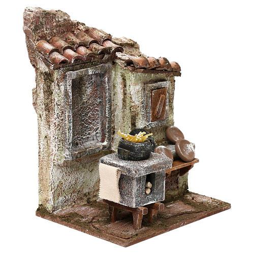 Capanna muratura con paglia 20x30x15 cm per presepe di 10 cm 7