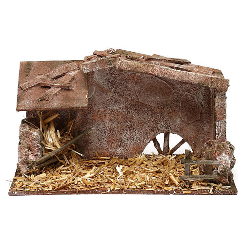 Shack with manger and straw for 10 cm Nativity scene, 15x25x15 cm 1