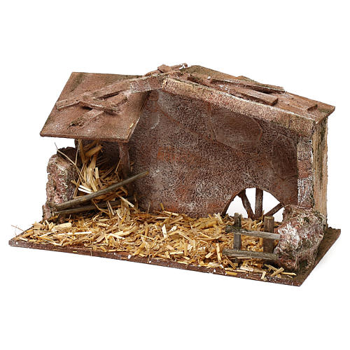 Shack with manger and straw for 10 cm Nativity scene, 15x25x15 cm 2