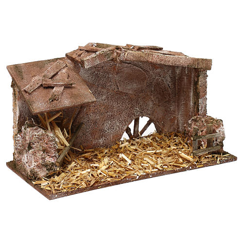 Shack with manger and straw for 10 cm Nativity scene, 15x25x15 cm 3