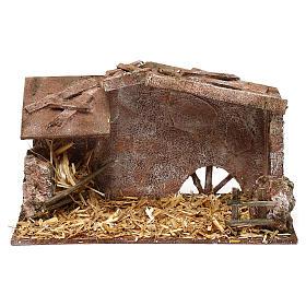 Cabanas e Grutas para Presépio: Cabana com fenil e palha 15x25x15 cm para presépio com figuras de 10 cm de altura média