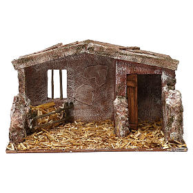 Shack with door for 12 cm Nativity scene, 20x35x20 cm s1