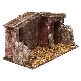 Shack with door for 12 cm Nativity scene, 20x35x20 cm s3